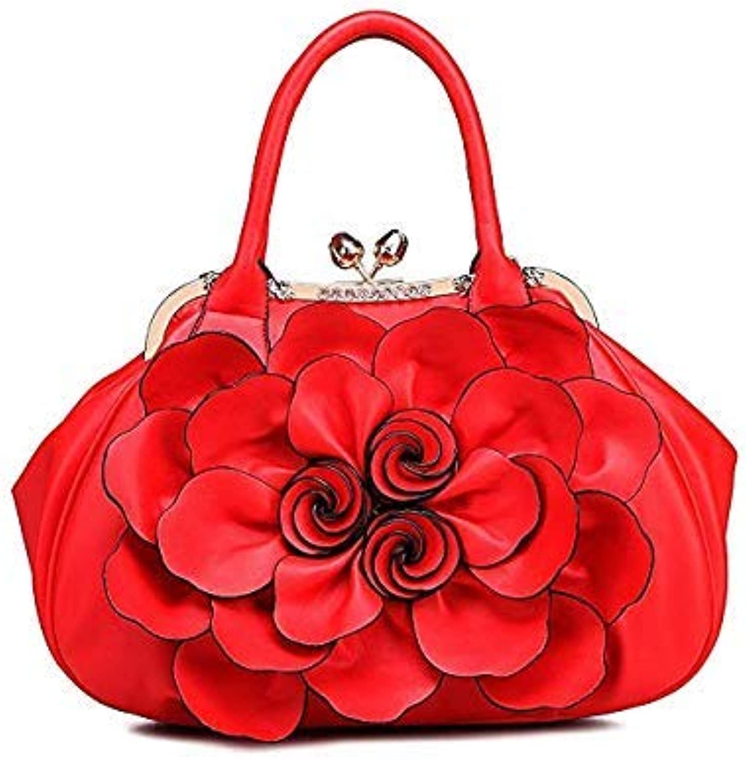 Bloomerang LADSOUL High Quality Elegant Women Bag Tote Bolsa Popular Floral Women Handbags Big Flower Luxury Shoulder Bags for Women A734 g color red 38x14x39CM