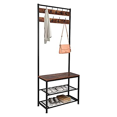 XICA Industrial Entryway Bench with Coat Rack Hall Tree Coat Hanger Shoe Storage Bench Small Narrow Entryway Furniture with Shelf Black Shoe Rack Corner Cubbies Storage Shelves