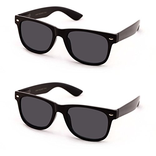 V.W.E Classic Outdoor Reading Sunglasses - Comfortable Stylish Simple Readers Magnification - Not Bifocal (2 pairs black frame black lens, +2.00)
