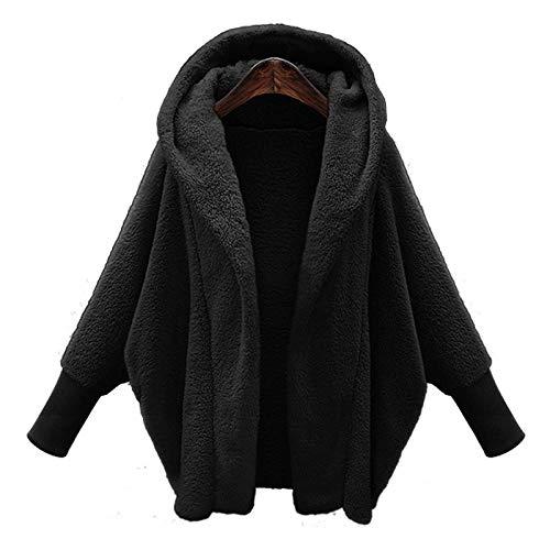 Abrigo de invierno cálido y suave 2020 para mujer, otoño, moda de manga larga, chaquetas informales, piel sintética con capucha, tallas grandes, color negro