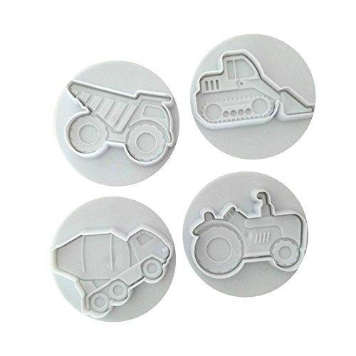 Dontdo Keksausstecher, Automotiv-Motive, für Kuchen/ Plätzchen etc., 4Stück, plastik, weiß, 5.7cm x 4.4cm