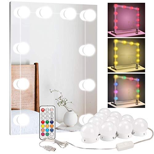 BLOOMWIN Luces LED Kit de Espejo con 10 Bombillas Regulables RGBW 12 Color 10 Niveles de Brillo Estilo Hollywood Lámpara Luces para Espejo de Maquillaje Tocador Espejo Baño Regalo Fiesta Cumpleaños