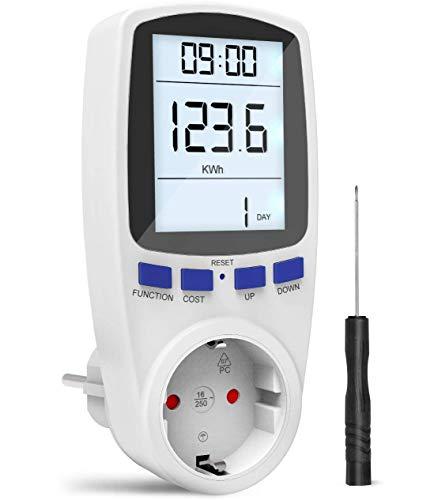 Gafild Energiekostenmessgerät Stromverbrauchszähle, Energiekosten-Messgerät mit digitaler LCD-Anzeige,Überlastungsschutz und 7 energiesparenden Anzeigemodi für Haushaltsenergieanalysatoren
