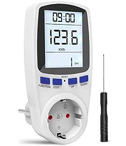 Gafild Medidor de consumo de corriente del medidor de energía, Medidor de Costo de Energía Medidor con pantalla LCD, protección contra sobrecarga, 3680W