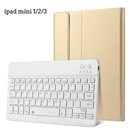 Strnry Funda para Teclado iPad Mini 1/2/3 - Cubierta Protectora De Cuero En Folio De 7.9', Ultra Delgada Y Liviana con Teclado Inalámbrico Bluetooth Desmontable para Apple iPad Mini 1/2/3,Oro