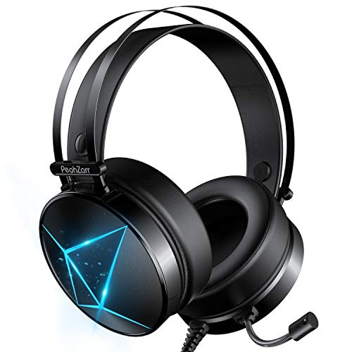PeohZarr Gaming Headset Xbox One Headset PS4 Headset with 7.1 Surround Sound PC Headset with Mic & Light, Over Ear Headphones for Xbox One Controller(Adapter Not Included), PS4, Nintendo Switch, PS2