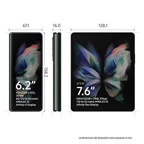 "Samsung Galaxy Z Fold3 5G, Caricatore incluso, Cellulare Smartphone Pieghevole Android SIM Free 256GB Display Dynamic AMOLED 2X 6,2""/7,6"" Phantom Green 2021 [Versione Italiana]"