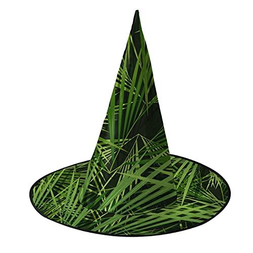 Disfraz unisex de bruja de Halloween para fiesta de palmeras sin costuras, patrón de hojas, accesorio de cosplay para niños, hombres, mujeres y negro