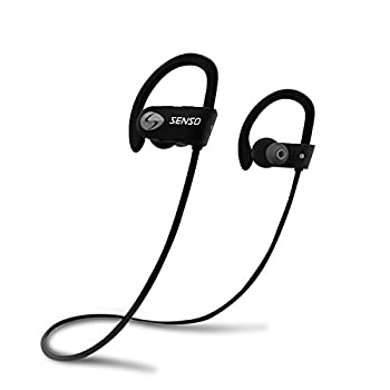 SENSO Bluetooth Headphones Best Wireless Sports Earphones w/Mic IPX7 Waterproof HD Stereo Sweatproof Earbuds for Gym Running Workout 8 Hour Battery Noise Cancelling Headsets  Grey/Black  Small