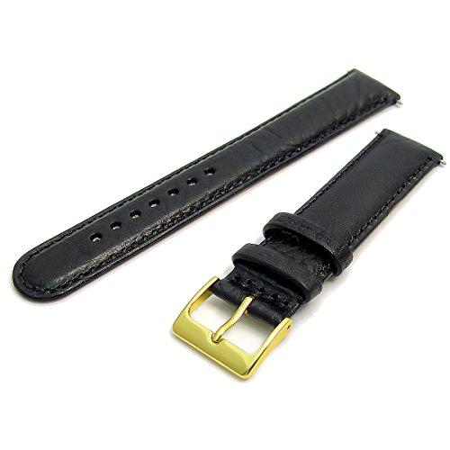 Ventiliertes atmungsaktives Air-Con Lederarmband, 18 mm, schwarz mit vergoldeter (Gold Farbe) Schnalle