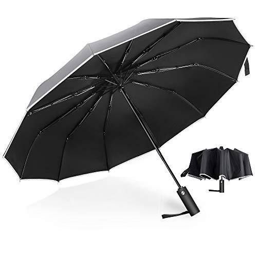 MOSFiATA Folding Umbrella, 12 Ribs Windproof Compact Travel Umbrella Rainproof Auto Open/Close Umbrellas for Men & Women with Teflon Coating & Reflective Stripes