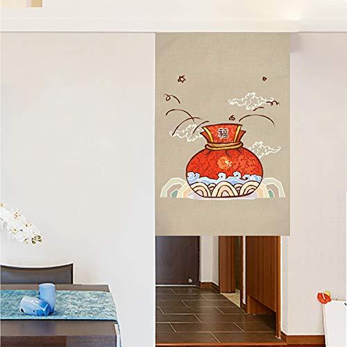 JH&MM Gedruckt Anti-Rauch-Tür-Vorhang im chinesischen Stil Küche Partition Hotel Half-Height Baumwolle und Leinen Gardinen,Slice,70 * 120