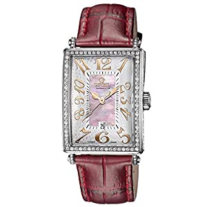 Gevril Women's 6208RV Glamour Diamond-Accented Stainless Steel Automatic Watch with Pink Crocodile Leather Band image
