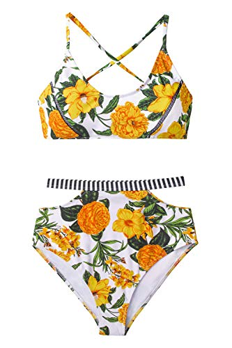 CUPSHE Blumenparadies High Waist Bikini, XXL