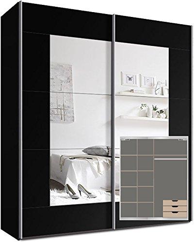 Webesto Kleiderschrank Schwebetürenschrank, ca. 200cm, inkl. 9 Einlegeböden, Türdämpfer für 2 Türen und 3X Schubladen Schwarz Spiegel
