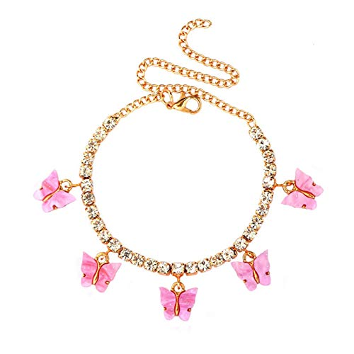 YUNGYE Necklaces Pendant Chain, 4mm Crystal Tennis Anklet Jewelry for Women Cute Animals Butterfly Anklet Give Girlfriend Best Jewelry For Girls (Metal Color : 001601GD)