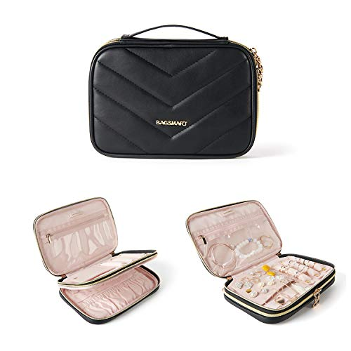 BAGSMART Travel Jewelry Organizer Case Portable Double Layer PU Leather Jewelry Organizer Roll for JourneyRings Necklaces Bracelets Earrings Black