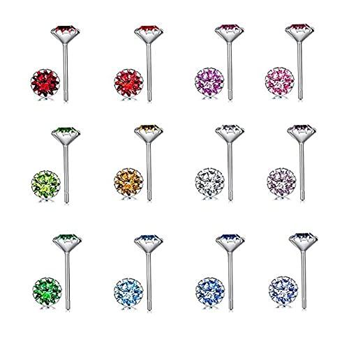 12 paia di orecchini a bottone in argento sterling 925 set di orecchini con pietra portafortuna colorati orecchini con piercing in zirconi gioielli per l'orecchio in acciaio inossidabile per donn