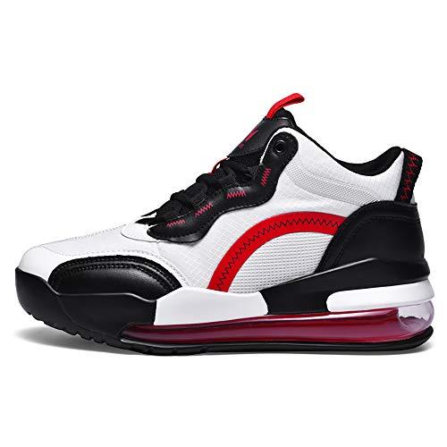 ZzWEI - Zapatillas de deporte para hombre, con cojín de aire, transpirables, transpirables, para correr, ligeras, absorción de golpes, zapatos de tenis, arco de carretera, color rojo, EU42/US8.5/UK8