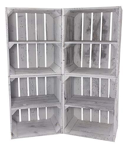 3X Vintage Holzkisten in grau, mit Regalbrett, zur kreativen Aufbewahrung oder als Deko, DIY gegen Langeweile, neu, 40x30x50cm