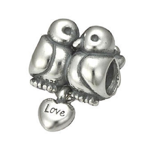.925 Silver Authentic 'Love Dove Birds' Sterling Charm Bead Compatible Brands: Authentic Pandora, EvesErose, Chamilia, Moress, Troll, Ohm, European, Zable, Biagi, Kay's Charmed Memories, Kohl's, Persona Bracelets / Necklaces & more!