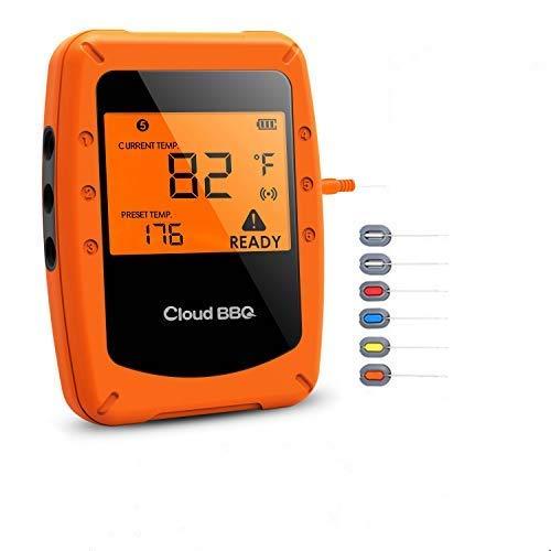 Movaty Bluetooth Grillthermometer mit 6 Sonden,Digitale Bratenthermometer BBQ Steak Thermometer, Fleischthermmometer küche, Unterstützt IOS, Android Thermometer Cooking Grill Backen Gelb