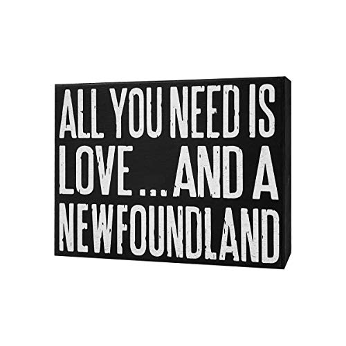 JennyGems - All You Need is Love and a NewFoundland Dog - Wooden Stand Up Box Sign, Newfie Dog, New Foundland Gift Series, Newfie Moms, Newfoundland Lovers - Newfy Moms