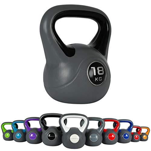 MSPORTS - Kettlebell da 2 – 20 kg, con poster degli esercizi da eseguire, 18 kg – nero