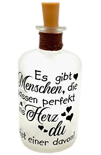 LED-Leuchtflasche Freunde Geschenk schwarz Geschenkidee Kollegin Freundschaft Verschenken
