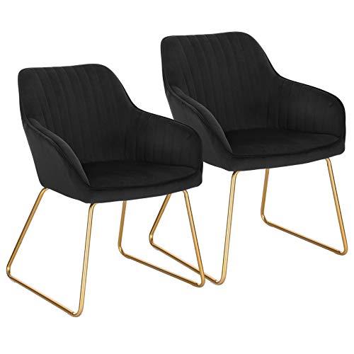 WOLTU Esszimmerstühle BH246sz-2 2er Set Küchenstuhl Polsterstuhl Wohnzimmerstuhl Sessel mit Armlehne, Sitzfläche aus Samt, Gold Beine aus Metall, Schwarz