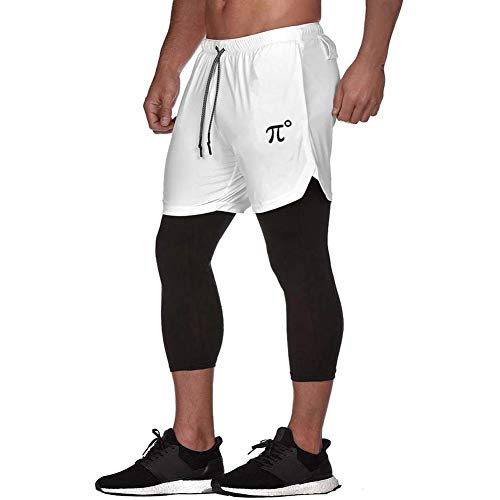PIDOGYM Men's Athletic Running Legging Shorts 2 in 1 Compression Tights Pants for Workout Gym,White,M