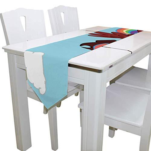 N/A Eettafel Runner Of Dresser Sjaal, Bloem Regenboog Eenhoorn Deck Tafelkleed Runner Koffie Mat voor Bruiloft Partij Banket Decoratie 13 x 90 inch