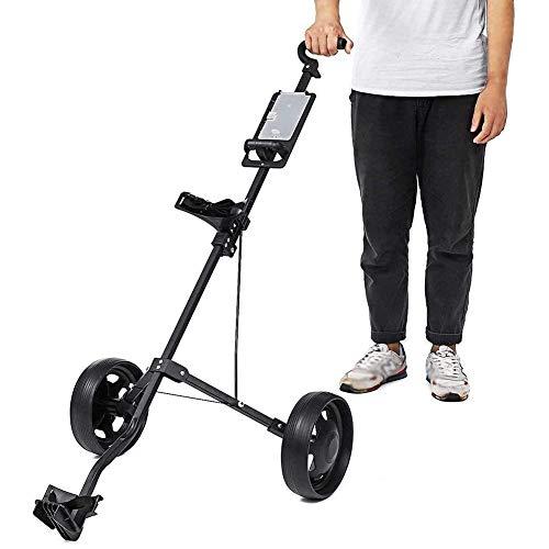 Golftrolley Zieh Golfcarts Golf Trolley Cart 2 Wheels Golf Caddy Aluminiumlegierung-Faltbare Trolley mit Bremse Golf Pull Wagen Hand Push-Golf Cart for Outdoor-Reisen