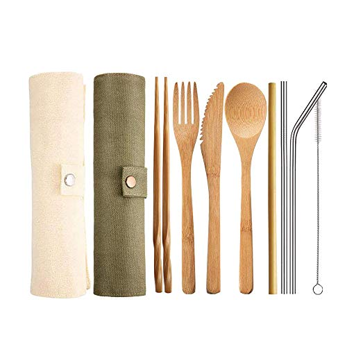 YDong 2 Sets Bambus Reisebesteck Set, Tragbares Camping Besteck Set Besteck Set mit Messer, Gabel, L?Ffel, Stroh und Reisetasche
