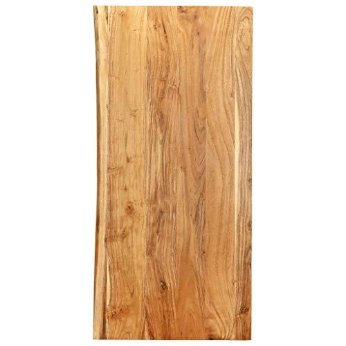vidaXL Akazienholz Massiv Waschtischplatte Badezimmer Waschtisch Waschtischkonsole Platte Holzplatte für Aufsatzbecken Badmöbel Baumkante 120x55x2,5cm