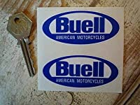 Buell American Motorcycles Blue & White Stickers ビューエル バイク ステッカー デカール 75mm x 35mm 2枚セット