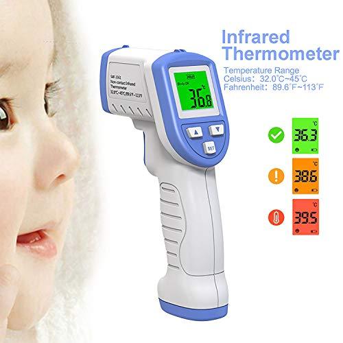 Wewe Infrarood thermometer voor baby's, digitaal, zonder contact, temperatuurpistool, tassen, huishoudthermometer, laser blauw