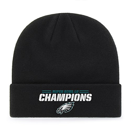 NFL Men's Philadelphia Eagles OTS Raised Cuff Knit Cap, One Size, Black