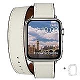 WFEAGL コンパチブル Apple Watch バンド, は本革を使い, iwatch series 6/5/4/3/2/1,SE レザー製,Sport/Edition 向けのバンド交換ストラップです コンパチブル アップルウォッチ バンド(38mm 40mm, 二重巻き型 アイボリーホワイト)