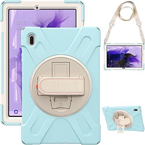 AdirMi Funda Anticaída para Samsung Galaxy Tab S7 FE 12.4 Inch 2021 (SM-T730/T735/T736B/T736N), Funda Duradera a Prueba de Golpes con Soporte Rotación, Correa de Mano/Hombro,Light Blue