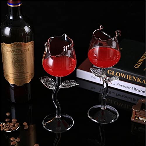 Fittoway Juego de 2 copas de vino blanco y tinto, con forma de rosa, 180 ml, para casa, restaurantes y fiestas