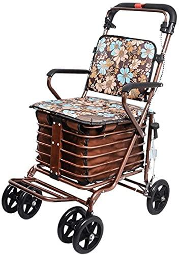 Rollator Walker, 4 ruedas Medical Rolling Walker Carrito de compras plegable, rodillos de cuatro ruedas Caminatas ligeras de altura ligera con asiento acolchado y canasta (Color : B)