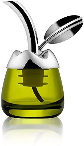 """Alessi """"Fior d' olio"""" Olivenölkoster aus Glas mit Ausgiesser aus Edelstahl 18/10 glänzend poliert und thermoplastischem Harz"""