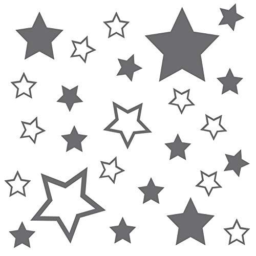 kleb-Drauf® | 25 Sterne | Silber - glänzend | Autoaufkleber Autosticker Decal Aufkleber Sticker | Auto Car Motorrad Fahrrad Roller Bike | Deko Tuning Stickerbomb Styling Wrapping