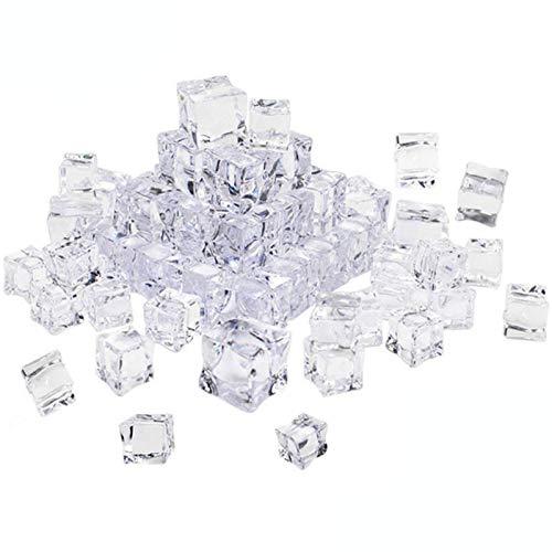Xinlie Künstliche Acryl Eiswürfel Plastikeiswürfel Deko-Eiswürfel aus Acryl Crushed Ice Cube Quadratische Form Glas Kunststoff-Eiswürfel Acryl Ice Bar Für Photographieren Props Oder Dekoration(60PCS)