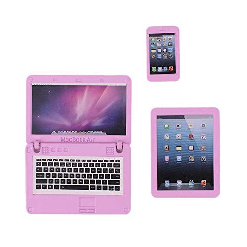 Dollhouse Simulation Mini Tablet Computer Laptop Mobile Phone Set for 18 inch Dolls Accessories Miniatures Model Furniture Kids Pretend Toys Playset