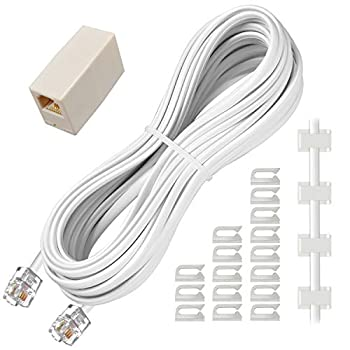 Phone Extension Cord 25 Ft Telephone Cable with Standard RJ11 Plug and 1 in-Line Couplers and 20 Cable Clip Holders White