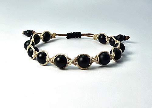 Shamballa-Armband aus Jade Naturstein Perlen mit hellbraun Macramee Band, verstellbar ab 17cm