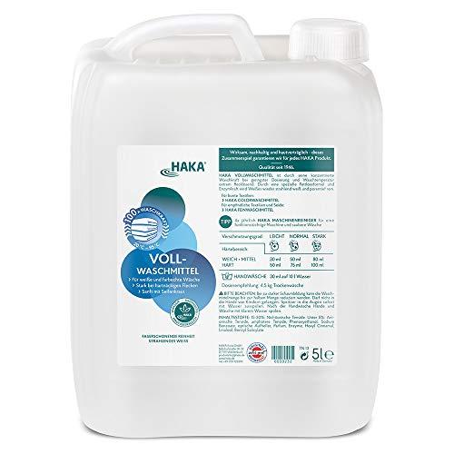 HAKA Vollwaschmittel 5 Liter I Flüssigwaschmittel I Universalwaschmittel für weiße, farbechte Textilien I 100 Waschladungen pro Kanister