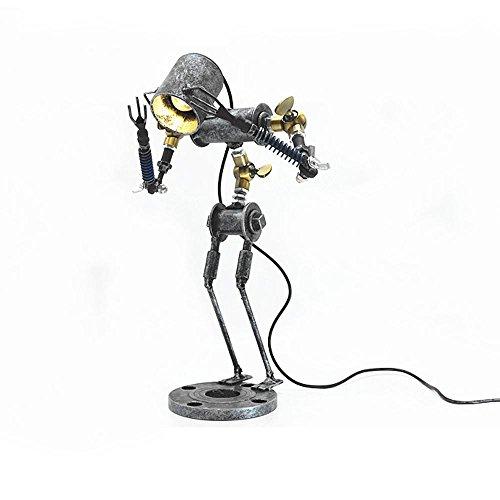 Lampe de table à LED au look vintage - Design élégant et intemporel - Avec bras pivotant réglable - Fabriquée à la main